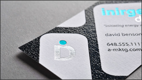 Raised letter business cards raised ink business cards full silver blue foil l raised black ink reheart Choice Image