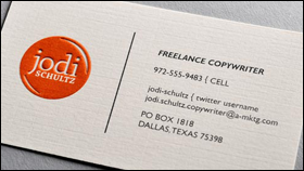 soft white linen l raised orange ink l flat black ink - Raised Lettering Business Cards