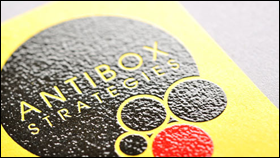 yellow stock l raised black red ink - Raised Lettering Business Cards